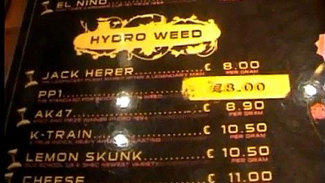 Buying Cannabis in Amsterdam (Greenhouse Coffeeshop Menu 2008)