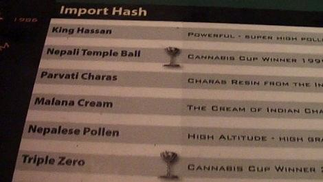 THE HASH MENU Barneys Coffeeshop Amsterdam 2011